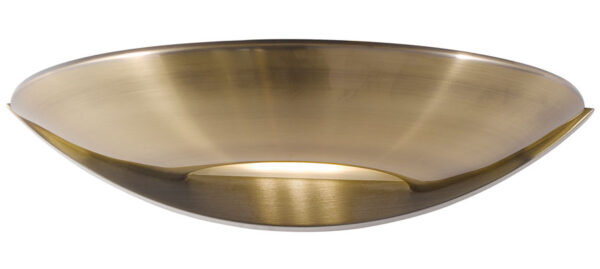 LED Half Moon Wall Washer Light Antique Brass Frosted Glass