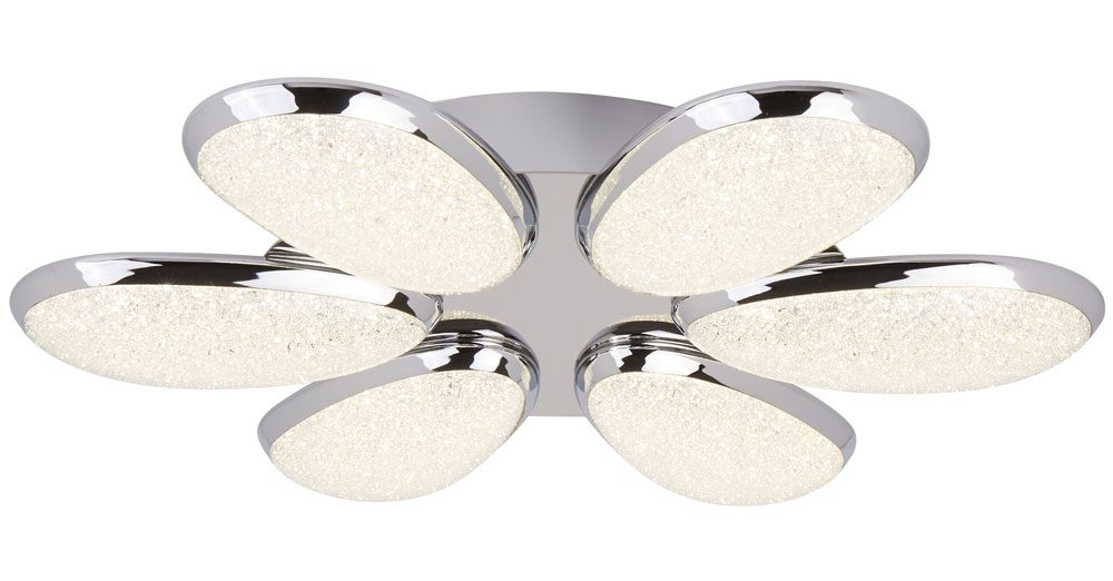 lori 6 light led flush ceiling light polished chrome crushed ice shades