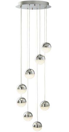 Marbles 8 Light LED Globe Multi Drop Pendant Polished Chrome Crushed Ice