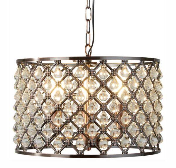 Marquise 3 Light Drum Pendant Ceiling Light Antique Copper Glass Drops