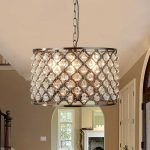 Marquise 3 Light Drum Pendant Ceiling Light Antique Copper Crystal Drops