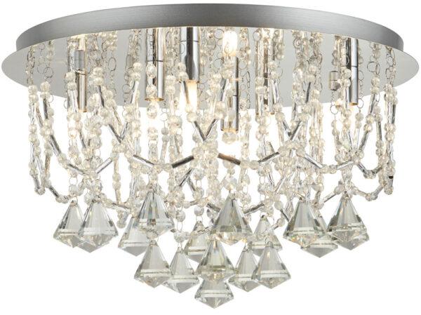 Mela Polished Chrome 6 Light Flush Crystal Pyramid Ceiling Light