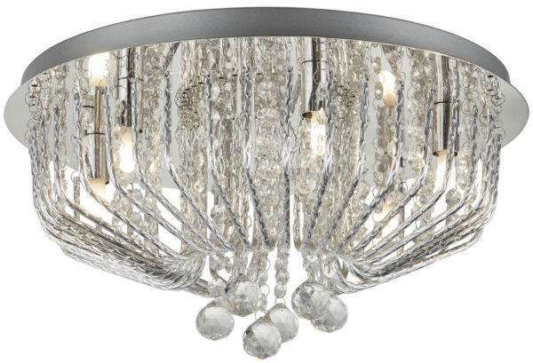 Mela Polished Chrome 6 Light Flush Crystal Ceiling Light Aluminium Rods