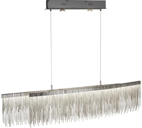 Memphis LED Pendant Ceiling Light Satin Silver Chain Link Waterfall