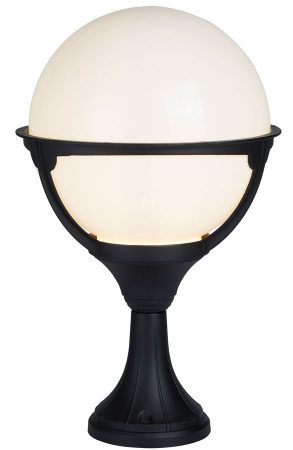 Orb Black 1 Light Outdoor Post Light Opal White Globe IP44 Traditional