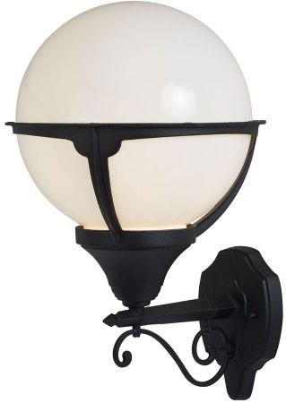 Orb Black 1 Light Outdoor Wall Light Opal White Globe IP44 Traditional