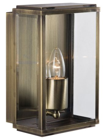 Outdoor Box Wall Lantern Antique Brass Bevelled Clear Glass IP44