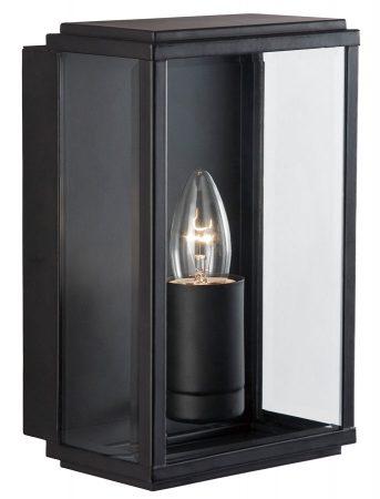 Outdoor Box Wall Lantern Matt Black Bevelled Clear Glass IP44