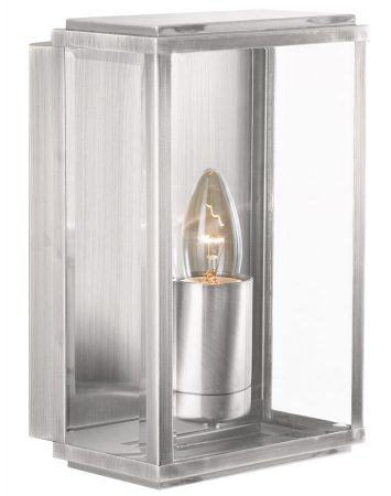 Outdoor Box Wall Lantern Satin Silver Bevelled Clear Glass IP44