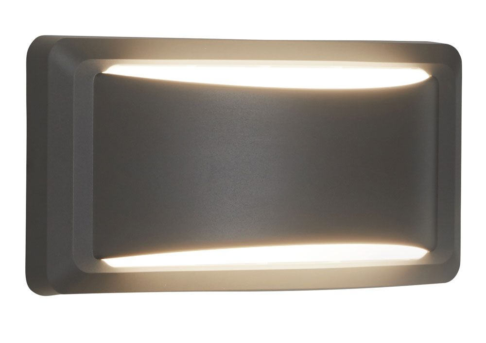 Outdoor LED Crescent Up Down Wall Light Dark Grey IP65