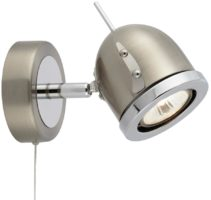 Palmer Satin Silver Switched Single Wall Spotlight Chrome Trim