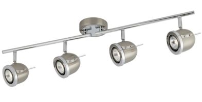Palmer Satin Silver 4 Light Ceiling Spotlight Bar Chrome Trim