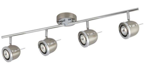 Palmer Satin Silver 4 Light Ceiling Spotlight Bar Chrome Trim