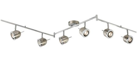 Palmer Satin Silver 6 Light Hinged Ceiling Spotlight Bar Chrome Trim