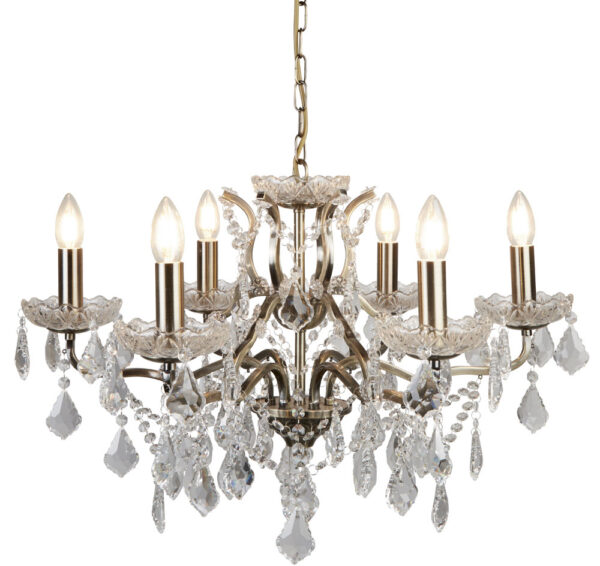 Paris 6 Light Clear Crystal Glass Chandelier Antique Brass Traditional