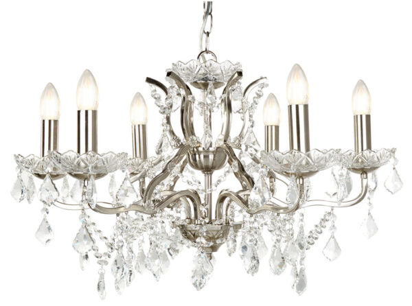Paris 6 Light Clear Crystal Glass Chandelier Satin Silver Traditional