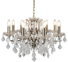 Paris 8 Light Clear Crystal Glass Chandelier Antique Brass Traditional