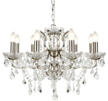 Paris 8 Light Clear Crystal Glass Chandelier Satin Silver Traditional