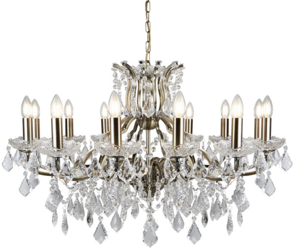 Paris Large 12 Light Clear Crystal Chandelier Antique Brass Traditional