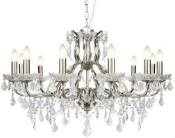 Paris Large 12 Light Clear Crystal Glass Chandelier Satin Silver Traditional