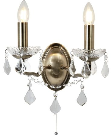 Paris Antique Brass Switched Twin Wall Light Crystal Beads & Drops