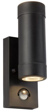 Black Rust Proof PIR Outdoor Up And Down Wall Spot Light IP44