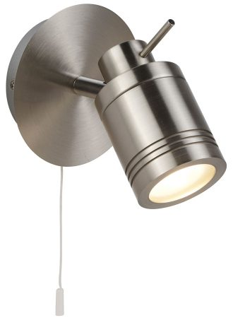 Samson Switched Bathroom Wall Spotlight Satin Silver LED Bulb