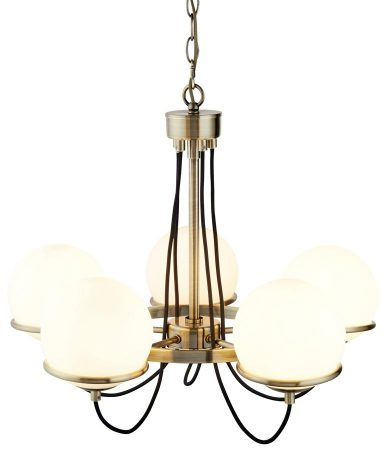 Sphere 5 Light Chandelier Antique Brass Opal White Glass Globes
