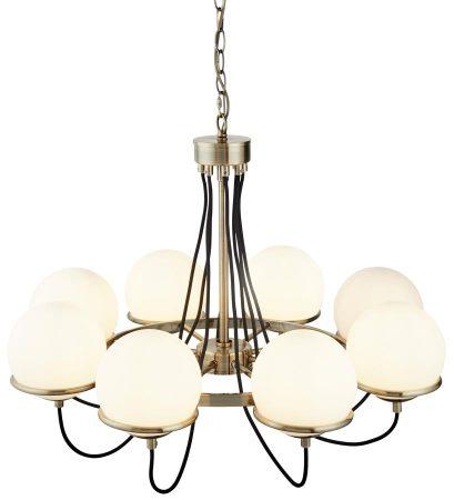Sphere 8 Light Chandelier Antique Brass Opal White Glass Globes