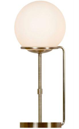 Sphere 1 Light Table Lamp Opal White Glass Globe Antique Brass