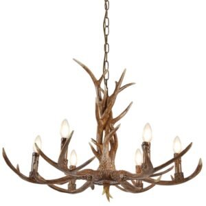 Stag 6 Light Weathered Antler Style Rustic Chandelier