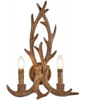 Stag 2 Light Weathered Antler Style Rustic Wall Light
