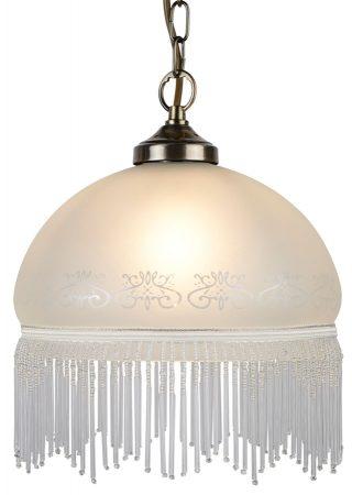 Virginia Etched Glass Pendant Ceiling Light Antique Brass Fringe
