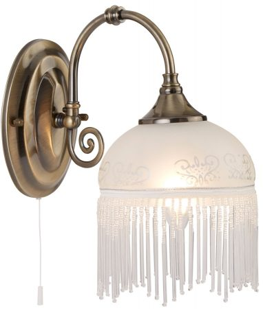 Virginia Etched Glass Switched Wall Light Antique Brass Fringe
