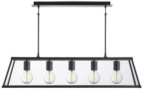 Voyager 5 Light Pendant Lantern Ceiling Light Matt Black Clear Glass