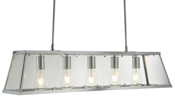 Voyager 5 Light Pendant Lantern Ceiling Light Polished Chrome Clear Glass