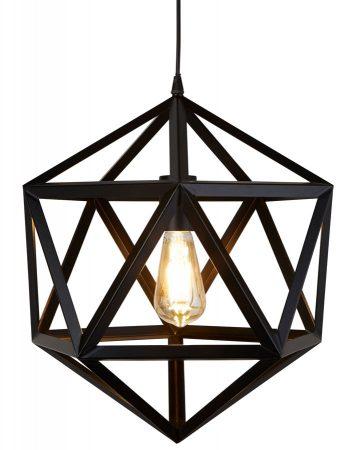 Voyager Single Light Geometric Pendant Ceiling Light Matt Black
