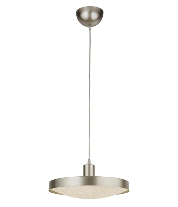 Saucer Modern Dimming LED Ceiling Pendant Silver Crystal Sand Shade