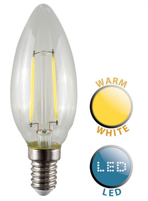2W SES/E14 Filament LED Candle Bulb 2700k Warm White 220 Lumen