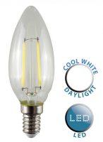 4W SES/E14 Filament LED Candle Bulb 6500k Daylight White 440 Lumen