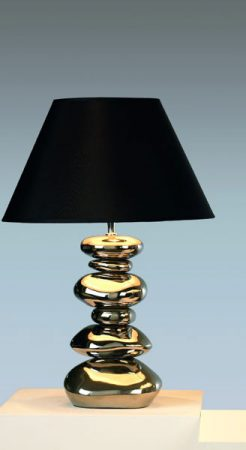 Metallic Silver Pebble Table Lamp With Black Shade