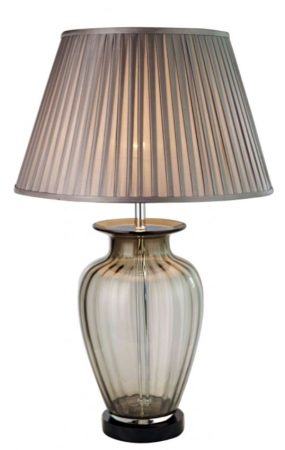 Classic Smoked Glass Vase Table Lamp With Pleated Smoke Shade