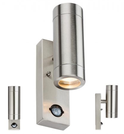 Stainless Steel Outdoor Wall Up & Down PIR Light Manual Override