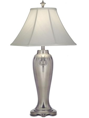 Stiffel Charleston 1 Light Table Lamp Antique Nickel Off White Shade