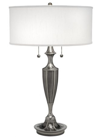 Stiffel Gatsby 2 Light Table Lamp Antique Nickel White Shade