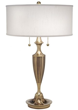Stiffel Gatsby 2 Light Table Lamp Burnished Brass Off White Shade