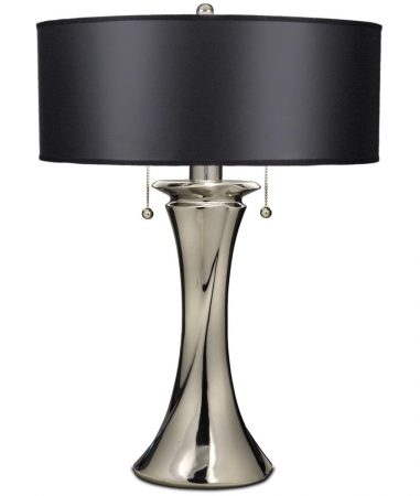 Stiffel Manhattan 2 Light Table Lamp Polished Nickel Black Shade