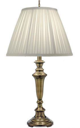 Stiffel Roosevelt 1 Light Table Lamp Burnished Brass Oyster Shade