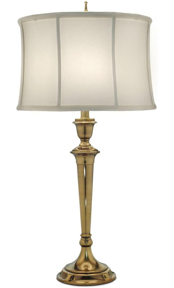 Stiffel Syracuse 1 Light Table Lamp Burnished Brass Oyster Shade