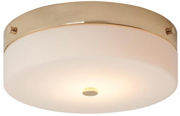 Elstead Tamar Large Flush Bathroom Ceiling Light Polished Gold IP44